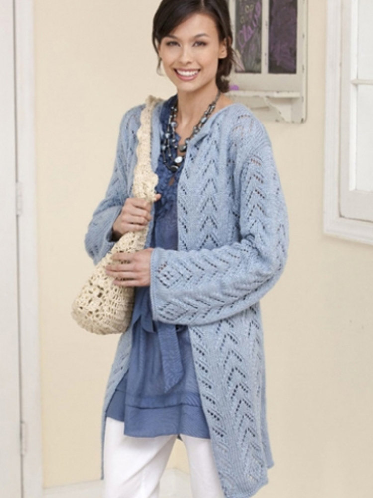 Long & Lacy Knit Jacket in Caron Simply Soft ...