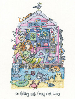 Heritage On Holiday with Crazy Cat Lady Cross Stitch Kit - 18cm x 30.5cm