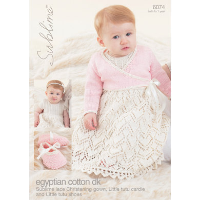 Christening Gown, Little Tutu Cardigan and Little Tutu Shoes in Sublime Egyptian Cotton DK - 6074