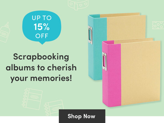 Up to 15 percent off scrapbooking albums - to cherich your memories!