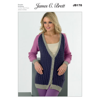 Ladies Cardigans in James C. Brett DK with Merino - JB178