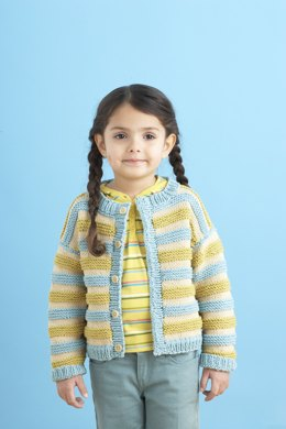 Playful Stripes Cardigan in Lion Brand Cotton-Ease - 81026AD