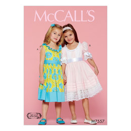 McCall's Children's/Girls' Ruffle-Neck Dresses with Bands and Ties M7557 - Sewing Pattern