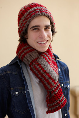 Varsity Stripe Hat And Scarf in Lion Brand Vanna's Choice - L10479
