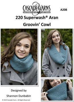 Groovin' Cowl in Cascade 220 Superwash Aran - A208 - Downloadable PDF