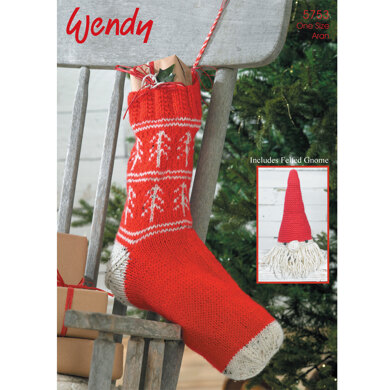 Fairisle Christmas Stocking and Felted Gnome in Wendy Aran with Wool 100g and Traditional Aran 100g - 5753