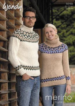 Fair Isle Yoke Sweaters in Wendy Merino Chunky - 5648