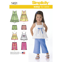 Simplicity Toddlers' Dresses, Top, Cropped Trousers and Shorts 1451 - Paper Pattern, Size A (1/2-1-2-3-4)