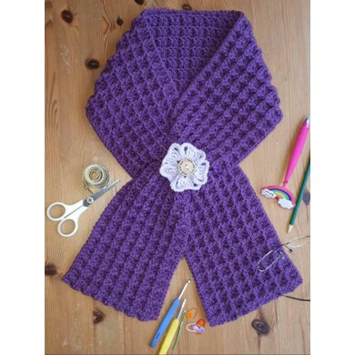 Simple Waffle Scarf with Double Keyhole Crochet Pattern