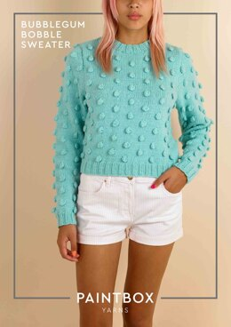 """Bubblegum Bobble Jumper"" - Free Jumper Knitting Pattern in Paintbox Yarns Wool Mix Aran"