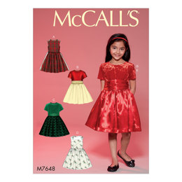 McCall's Childrens'/Girls' Gathered Dresses with Petticoat and Sash M7648 - Sewing Pattern