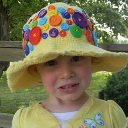 "Crochet Summer Hat for a Girl ""Loads of Buttons""."