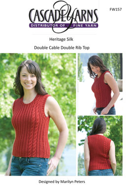 Double Cable Double Rib Top in Cascade Heritage Silk - FW157