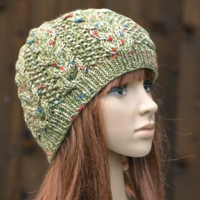 Womens Cable Beanie KPWB04 in Stylecraft Life Chunky Prints