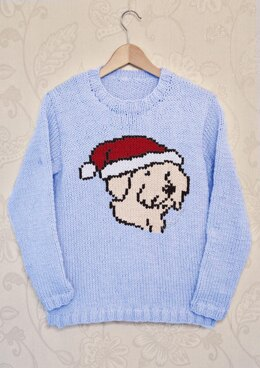 Intarsia - Christmas Dog Chart - Adults Sweater