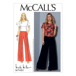 McCall's Misses' Short Sleeve Top and Pleated, Wide-Leg Pants M7483 - Sewing Pattern