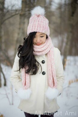 Snow Puff Ribbed Beanie & Scarf