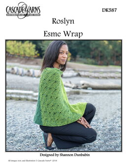 Esme Wrap & Scarf in Cascade Yarns Roslyn - DK587 - Downloadable PDF