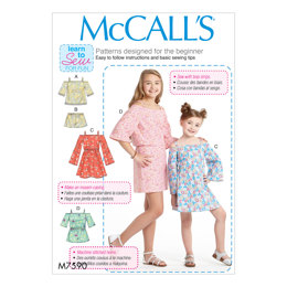 McCall's Children's/Girls' Off-the-Shoulder Top, Dress and Romper with Sleeve Variations M7590 - Sewing Pattern