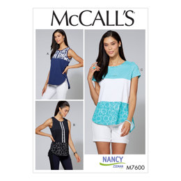 McCall's Misses'/Women's Pullover Tops with Contrast and Sleeve Variations M7600 - Sewing Pattern