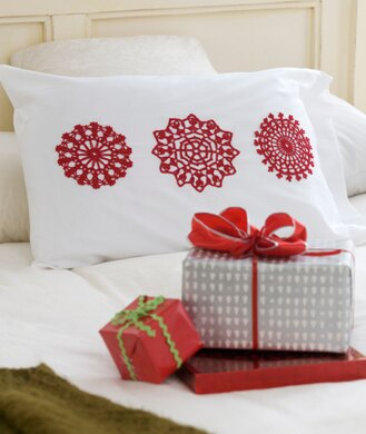 Snowflake Appliquzs In Red Heart Aunt Lydias Classic Crochet