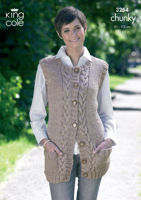 Waistcoat and Slipover in King Cole Big Value Chunky - 3254