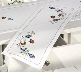 Permin Small Butterflies Table Runner Cross Stitch Kit - 23cm x 67cm