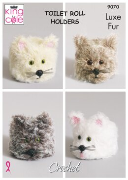 Crochet Cat Toilet Roll Covers in King Cole Luxe Fur - 9070