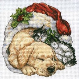 Dimensions Christmas Morning Pets Cross Stitch Kit