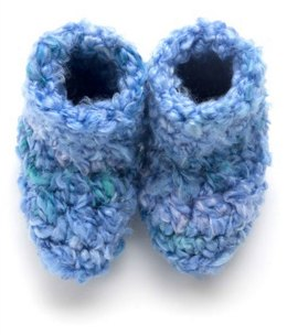 Crochet Cozy Socks  in Red Heart Baby Clouds - LW3227