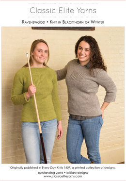 Ravenswood Pullover in Classic Elite Yarns Wynter and MountainTop Blackthorn - Downloadable PDF