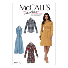 McCall's Misses' Button-Down Shirt and Shirtdresses with Belt M7470 - Sewing Pattern