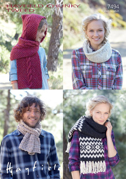 Scarves and Snood in Hayfield Chunky Tweed - 7494 - Downloadable PDF