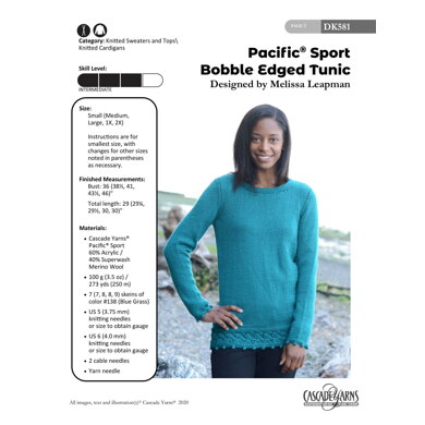 Pacific Sport Bobble Edged Tunic in Cascade Yarns - DK581 - Downloadable PDF
