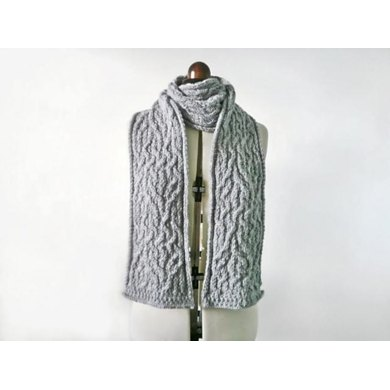 Tangled up cable knit scarf