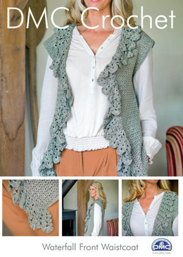 Waterfall Front Waistcoat in DMC Petra Crochet Cotton Perle No. 3 - 14928L/2 - Leaflet