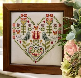 Historical Sampler Company Scandi Heart Sampler Cross Stitch Kit