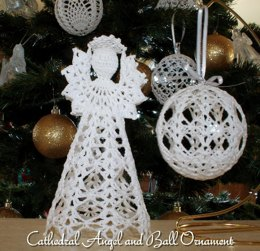 Cathedral Angel and Ball Ornament christmas