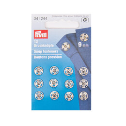 Prym Sew-On Snap Fasteners 9 mm Silver Colour