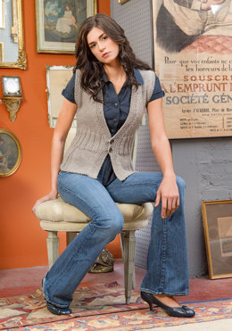 Pleated Vest in Blue Sky Fibers Sport Weight