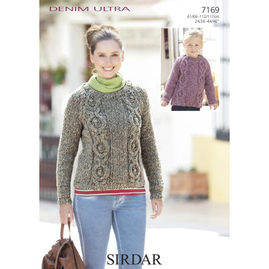 Round-Neck Cable Sweaters in Sirdar Denim Ultra Super Chunky - 7169
