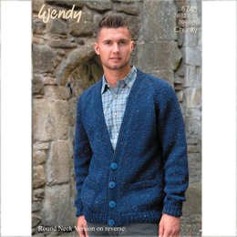 Easy Knit Round and V Neck Cardigan in Wendy Mode Chunky - 5745