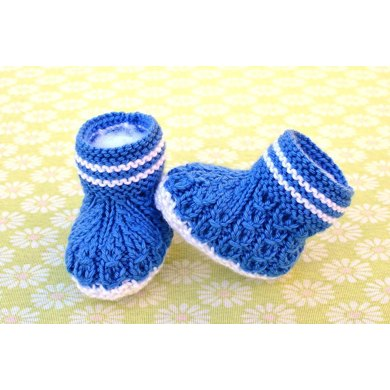 Mock Cables Boot Style Baby Booties