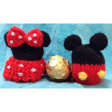 Mickey And Minnie Mouse Ferrero Choc Cover Knitting Pattern By