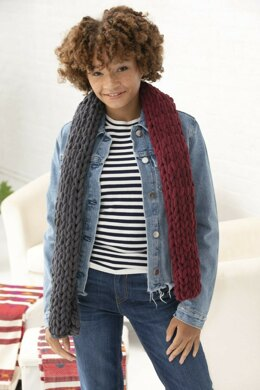 2 Color Scarf in Lion Brand Off The Hook - L80228a - Downloadable PDF