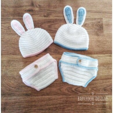Baby Boy Easter Bunny Hat and Diaper Cover Crochet 3-6 Month