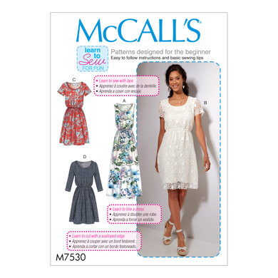 McCall's Misses' Gathered-Waist, Scoopneck Dresses M7530 - Sewing Pattern