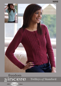 Cardigan with Textured Bands Long or Short Sleeved in Twilleys Freedom Sincere - 9098