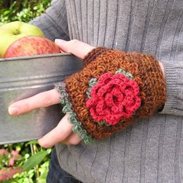Rose granny square mitts