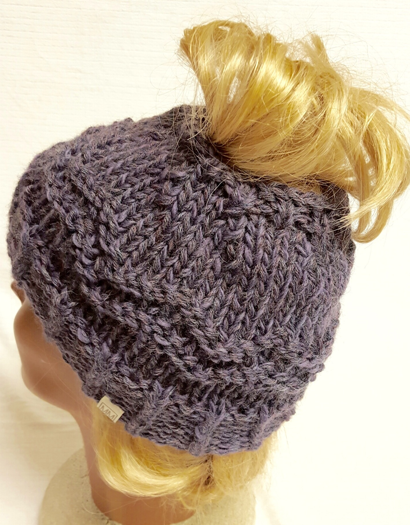 Messy Chunky Beach Waves Easy Tutorial: Messy Bun Hat, Ponytail Hat Knitting Project By MaDonna